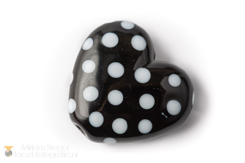 Hartje 30 mm Zwart Wit Polkadots A
