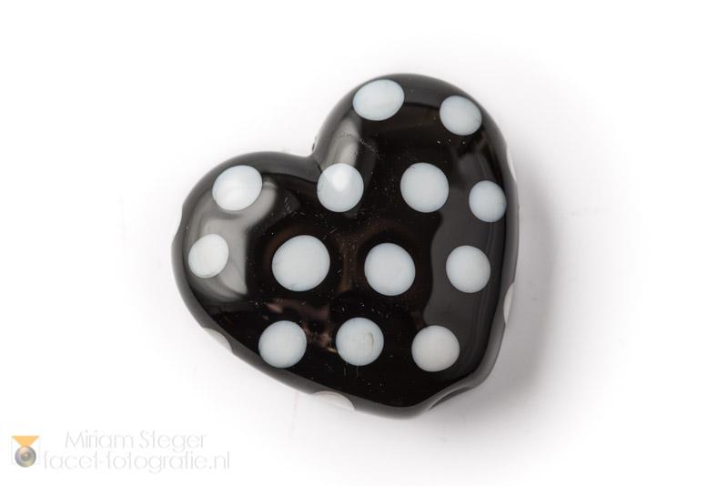 Hartje 30 mm Zwart Wit Polkadots B